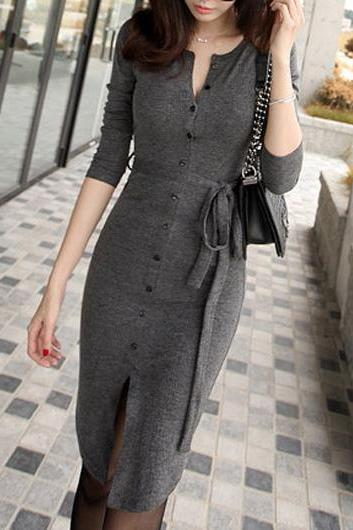 Elegant Button Closure Knee Length Sweater Dress - Grey