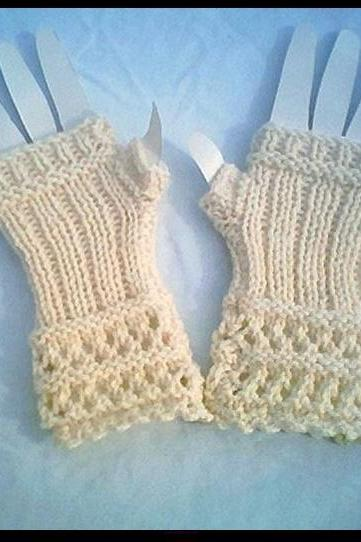 Winter White Open Lace Knit Fingerless Gloves 0014