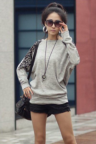 Casual O Neck Long Sleeves Leopard Patchwork Grey T-shirt