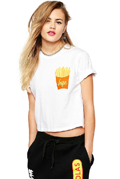 Cheap New Style O Neck Short Sleeves French Fries Print Solid White Cotton Blend T-shirt