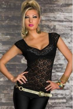 Sexy Lace Front O Neck Short Sleeve Black Chiffon T-shirt