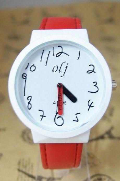 Trendy Teenage red Leather Strap Girl Watch