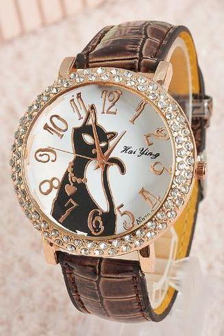Black Cat Face brown Rhinestones Leather Girl Watch