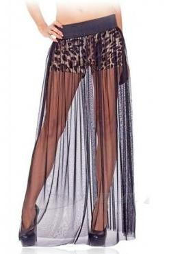 Cheap Sexy Hollow-out Gauze A Line Floor Length Skirt with Leopard Shorts