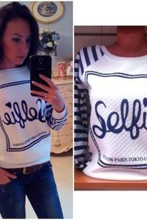 Cheap Casual Long Sleeves Letters and Stripes Print Blue Blending Regular Cardigan Sweat
