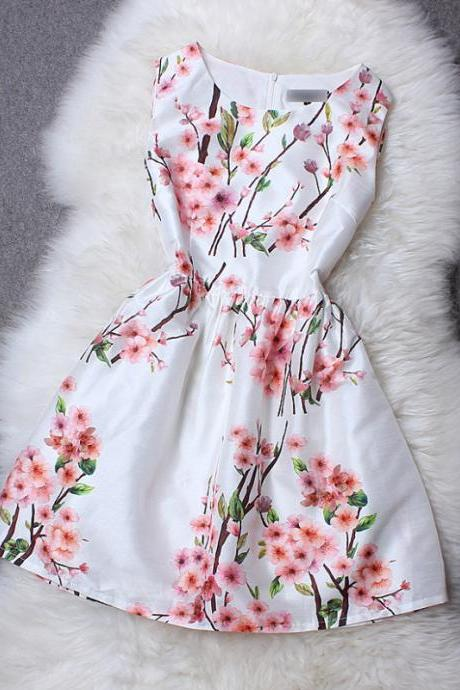 Sexy Peach Printed Neck Sleeveless Dress