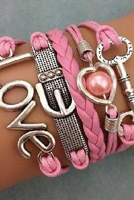 HOT fashion Infinity Heart Pearl Love Key Leather Charm Bracelet Plated Silver