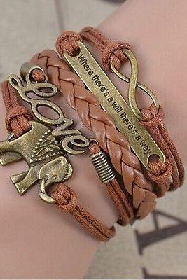 NEW Retro Infinity Elephants Love Leather Charm Bracelet plated Bronze HOT