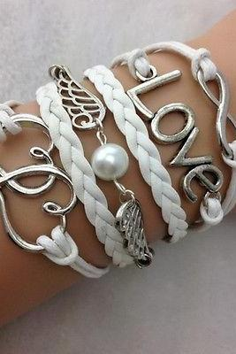 NEW Infinity Love Heart Wing Pearl Leather Charm Bracelet plated Silver DIY !!!!