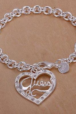 925 Sterling Silver Plated On Solid Copper Bracelets Gift Antiallergic