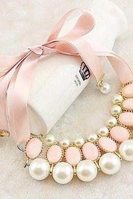 Pearl and Pink Bead Statement Necklace with Ribbon