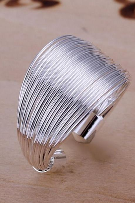 New Women Men 925 Sterling Silver Plated Wide Circle Band Ring Jewelry Size 8
