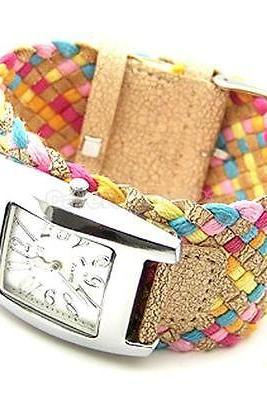 Fashion New Ladies Girls Candy Braided Rope Wrap Square Wrist Watch