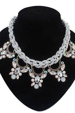Crystal Drop Pendant on Weave Rope Statement Choker Necklace