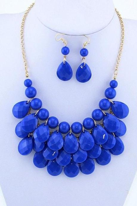 Statement Blue Beads Choker Woman Necklace