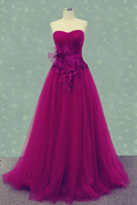 Pd315 Sweetheart Prom Dress,Tulle Prom Dress,A-Line Prom Dress,Charming Prom Dress,Prom Dress with Flowers