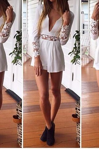 Sexy Deep V-neck Lace Sleeves Chiffon Jumpsuit Dress