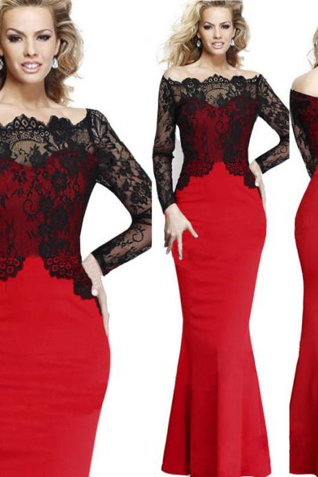 Womens Elegant Lace Fit Prom Cocktail Evening Mermaid Bodycon Maxi Long Dress