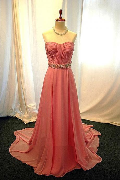 Pretty Simple Pearl Pink Long Prom Dresses with Beadings, Long Prom Gown, Formal Dresses, Evening Dresses, Bridesmaid Dresses