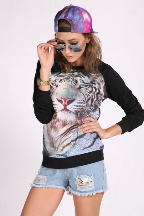 Sexy Women Printed Space Pullovers Sweatshirts Animal Sweaters Top