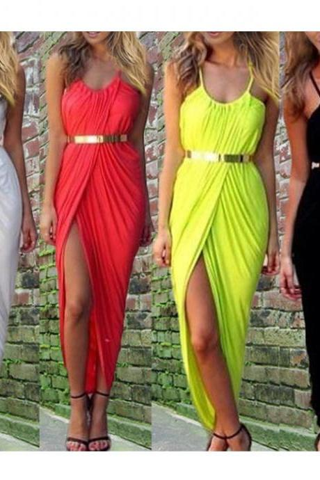 Sexy look Women Ladies Ruched Front Split Slit Maxi Party Dress Cocktail