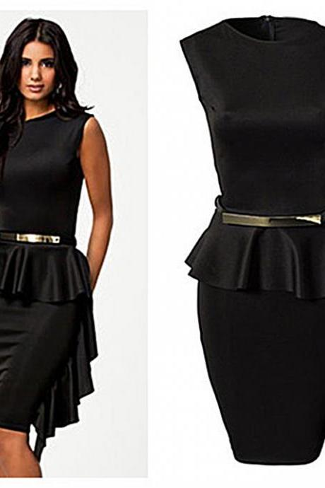 New Women's Black One-Side Draped Stylish Peplum Dress Sexy Sleeveless Summer Dress Cocktail Party
