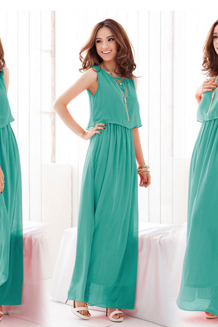 The New 2015 Super Long Wave Bohemia Wind And Snow Spinning Dress Dress