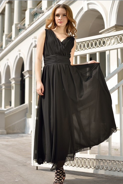 2015 Big European Yards Long Chiffon Dress Bohemian Dress--Black