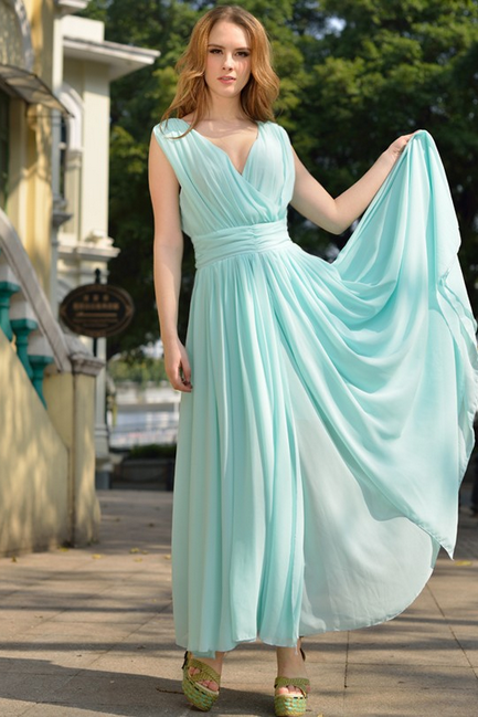2015 Big European Yards Long Chiffon Dress Bohemian Dress--Blue
