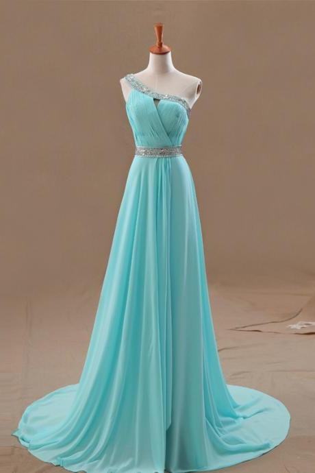 Ice Blue Chiffon One Shoulder Long Bridesmaid Dress