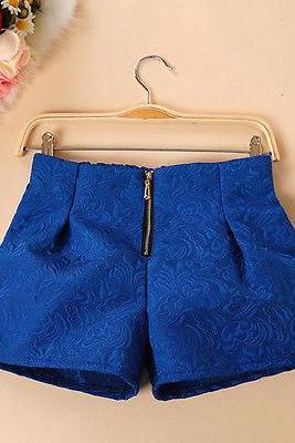 Fashion Women's Waist Shorts Summer Sweet Shorts Candy Short New Pants Blue