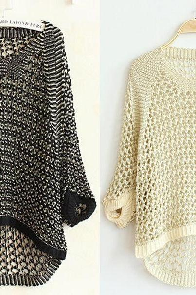 New Women Long Sleeve Casual Knitted Pullover Jumper Loose Sweater Knitwear Tops