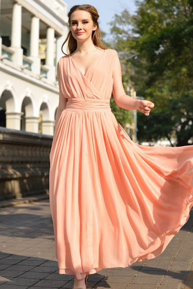 2015 Big European Yards Long Chiffon Dress Bohemian Dress--Bare Pink Dress