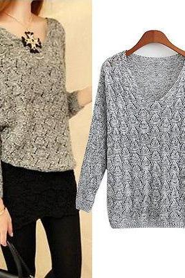 Womens Casual Long Sleeve Knitted Knitwear Sweater Loose Pullover Outwear Tops
