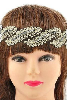 Hippy Retro Elastic Lace Rhinestone Jewelry Headband Bride Head Piece Hair band