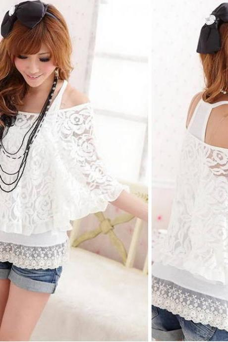 New Women's White 2 Piece Set Vest + Overall Lace Top Ladies Off Shoulder T-Shirt