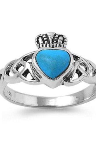 Sterling Silver w/Turquoise stone Celtic Claddagh 11mm Sizes 5-9