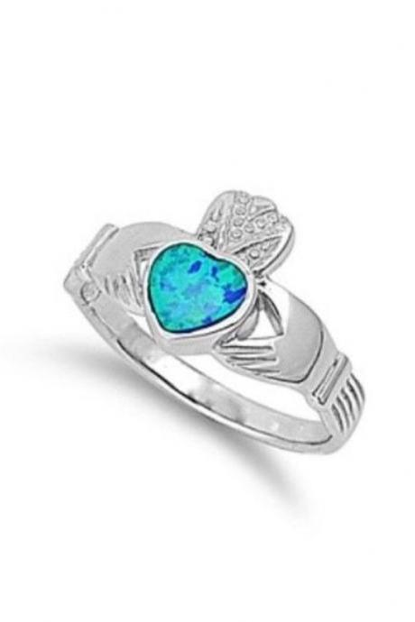 Sterling Silver Blue Lab Opal Claddagh w/ CZ 12mm Sizes 7-9