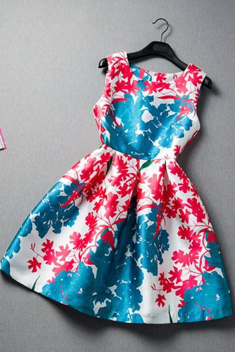Hit color printing stitching sleeveless dress VC30513MN