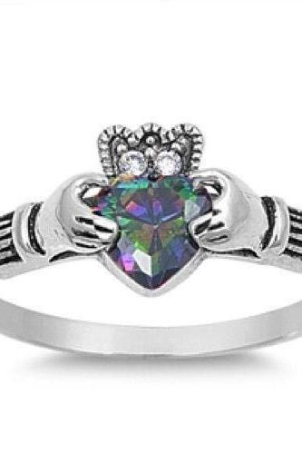 Sterling Silver Natural Rainbow Topaz Claddagh 7Mm W/ Cz Size 8