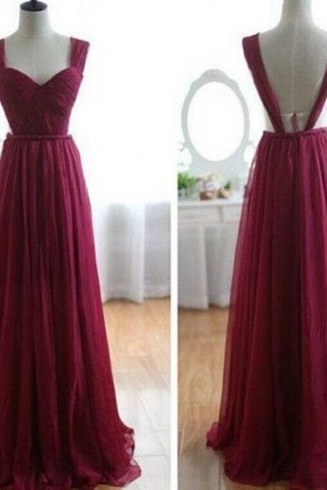 2015 Burgundy Chiffon Long Prom Dress With Open Back