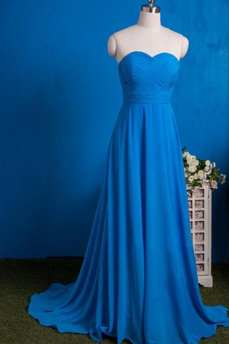 Royal Blue Chiffon Strapless Sweep Train Bridesmaid Dresses,Formal Gown