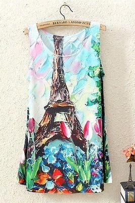 Girls Womens Sleeveless Multicolor Paris Eiffel Tower T Shirt Tee Vest Tank Tops