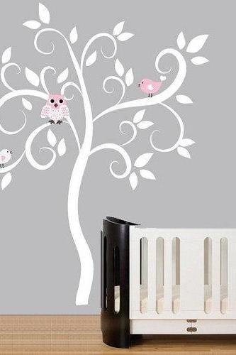 vinyl wall decal nursery kids tree decals leaf bird birds owl owls home baby room Wall Sticker stickers mural murals decor removable 910