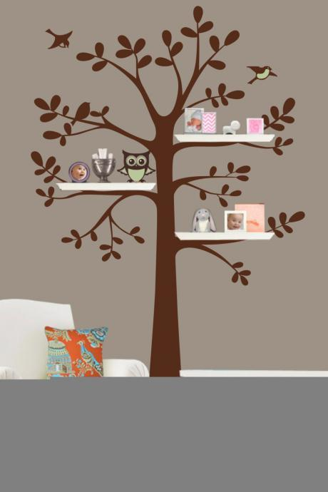 Shelf Tree Decal - Tree Decal With Owl - Owl Nursery Theme - Shelf Organizer Decal - Tree Bookshelf - wall decal tree silhouette R848