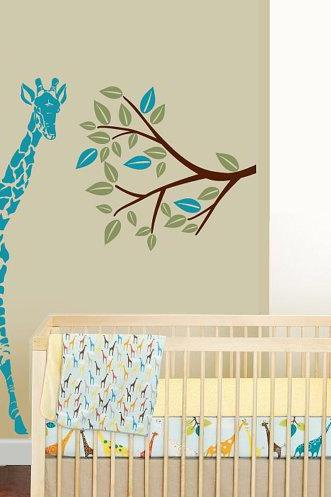 tree giraffe decal Vinyl Wall Decal baby nursery room Decals trees branch leaf children kids home house Wall Sticker kid mural decor dK15
