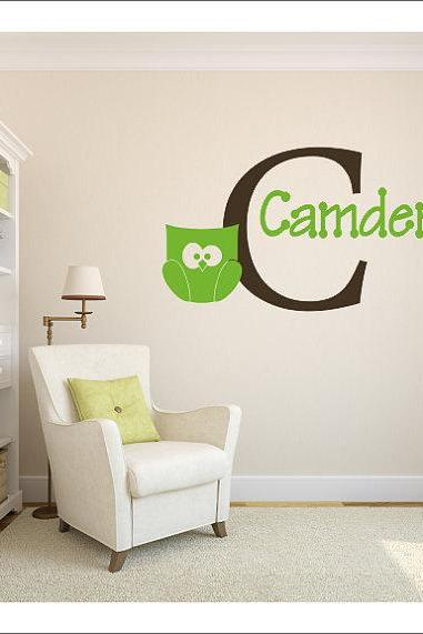 Name Monogram Decal - Custom Wall Decal - Nursery Wall Decal - Personalized Wall Decals - boy Name Monogram - boys- boy - owl -owls RE70