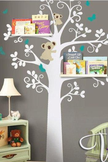Wall Decals - Shelving Tree with birds- Baby Nursery Decals - bears - bear sticker -wall decal nursery - Wall Decals - kids stickers R839