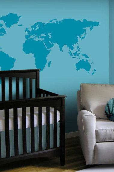 Vinyl Wall Decal Large World Map 7 continents land house TV home house Art wall Decals Wall Sticker stickers baby room kid R633