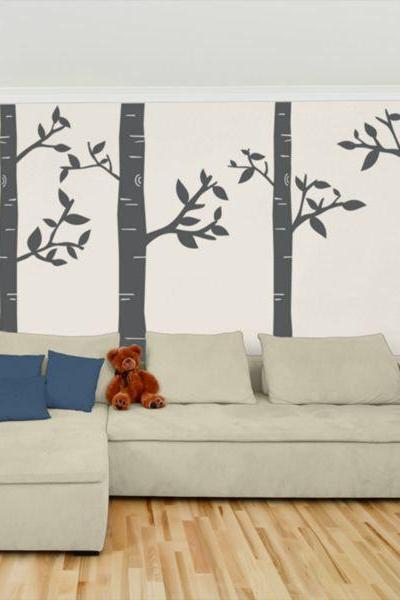 wall decal large size four birch Tree truck trees vinyl home Art Decals Wall Sticker stickers living room bed baby R676